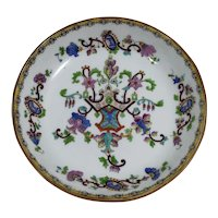 Antique Early 19th Century English Polychrome Enamel Chinoiserie Porcelain Low Bowl