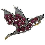 1940s Vintage Coro Gene Verrecchio Designed Pave Enamel and Deep Pink Simulated Moonstone Rhinestone Goose in Flight Pin