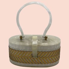 Vintage Mid Century White Pearlized Lucite and Brass Box Purse