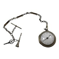 H Richards London 1759 Pair Case Sterling Silver Verge Fusee Pocket Watch and Chain Figural Key