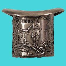 1903 Karl Kurtz Kesselstadt Hanau Germany Sterling Silver Miniature Figural Top Hat Pin Cushion Asian Theme