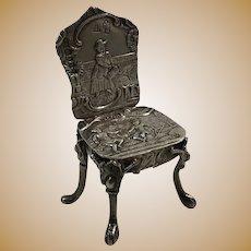 Neresheimer Hanau Germany Sterling Silver Miniature Ornate Chair 1894 London Importer Hallmark