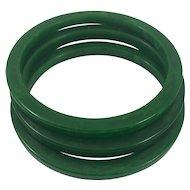 Set of 3 Bakelite Stacking Marbled Spinach Green Spacer Bangle Bracelets