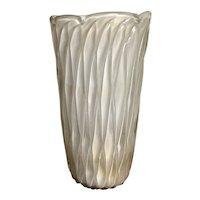 c1950 Monumental Italian Murano Barovier White Cased Gold Aventurine Art Glass Vase