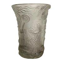 Vintage Josef Inwald Barolac Large Molded Marine Life Satin Glass Vase