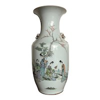 19th C Qing Dynasty Chinese Porcelain Famille Verte Large Floor Vase with Cursive Script Poetry