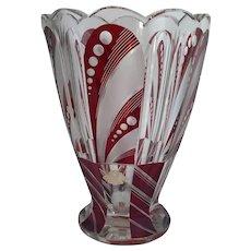1940s Art Deco Bohemian Karl Palda Red Cut Crystal Vase