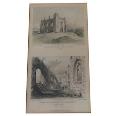 c 1844 Antique Print MJ Starling Engraving Views of St Catherine's Chapel near Guildford Surrey