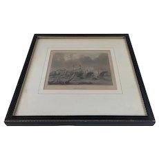 Mid 19th Century Antique Architectural Print J Woods Engraving Hablot Browne London Bridge
