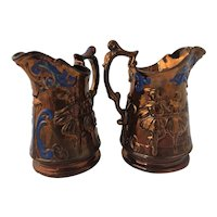 Pair of Large Victorian Era 19th Century Copper Lustre Pitchers Jugs