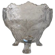 Vintage Depression Era McKee Rock Crystal Three Footed Serving or Fruit Bowl