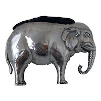 Antique 1906 Birmingham Sterling Silver Figural Elephant Pin Cushion