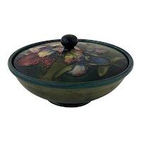Vintage Mid Century Moorcroft Green Blue Lidded Orchid Bowl