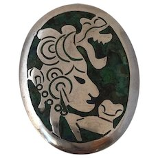 Mid Century Mexican Taxco Sterling Silver YR Signed Turquoise Inlaid Maya Brooch Pendant