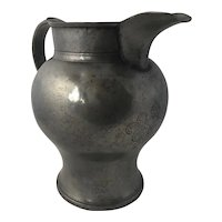 Antique Georgian Large Pewter Baluster Pitcher with Armorial Crest