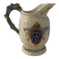 1937 Large Crown Devon Musical Pitcher Coronation of King Edward VIII
