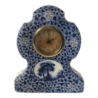 1920s Delft Blue German CAW Ceramic Mantle Clock