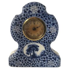 1920s Delft Blue German CAW Ceramic Mantle Clock