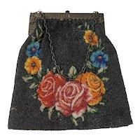 c 1900 Black Micro Beaded Handbag Purse with Roses