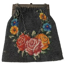 c 1900 Black Micro Beaded Handbag Purse with Roses