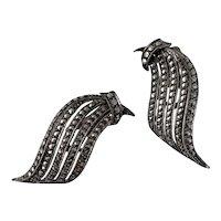 Vintage Art Deco Birks Sterling Silver Marcasite Clip On Earrings
