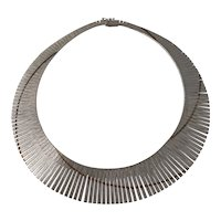 Vintage Italian Sterling Silver Cleopatra Collar Necklace