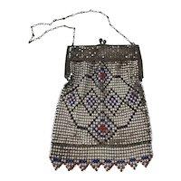 Art Deco Period Whiting and Davis Enamelled Mesh Ladies Handbag Purse