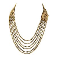 Victorian Era Gold Plated or Filled Round Bead 5 Layer Bib Festoon Draped Collar Necklace