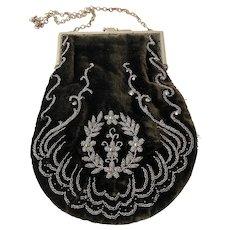 Gorgeous Victorian Velvet Silver Beaded Handbag Purse