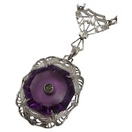 Vintage c1930 Art Deco Sterling Silver Filigree Pendant Lavalier Sautoir Necklace with Purple Glass Simulated Amethyst