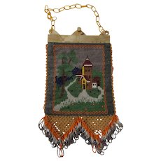 Stunning Antique Beaded Handbag with Pearlized Celluloid Expansion Frame