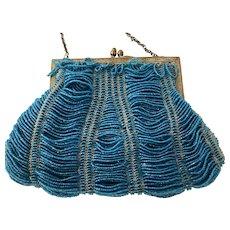 Antique Peacock Blue Swag Beaded Ladies Handbag Purse