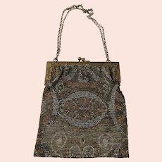 Antique French Steel Cut Beaded Ladies Handbag Purse