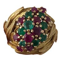 Magnificent Vintage Mid Century Birks 18K Yellow Gold Ruby and Emerald Cluster Ring