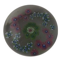 Large 19th Century Antique Clichy French Millefiori C Scroll Garland Art Glass Paperweight