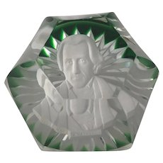 Vintage Baccarat President Andrew Jackson Sulphide Glass Paperweight