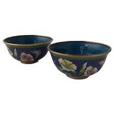 Pair of Vintage Chinese Cloisonne Bowls Decorated with Morning Glory and Butterflies