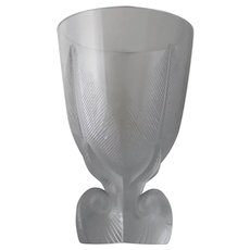 Lalique France Art Deco Osmonde Fern Leaf Footed Vase