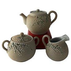Antique Japanese Meiji Period Sharkskin Moriage Samehada-Gusuri Porcelain Teapot Creamer and Sugar Bowl Tea Set