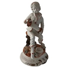 Large Vintage Ceramic Capodimonte Accordian Boy Figurine