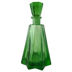 1930s Art Deco Green Glass Drinks Liquor Spirits Decanter Whisky Rye Vodka Rum