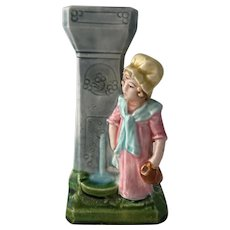 Antique 19th Century Majolica Spill Vase Little Maid at the Fountain