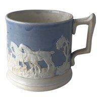 Antique 19th Century Blue and White English Salt Glazed Mug Hunt Scene