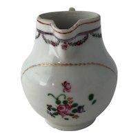 18th Century Chinese Export Porcelain Famille Rose Sparrow Beak Jug Pitcher Creamer