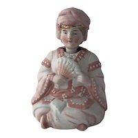 Antique Victorian Era German Bisque Lady in Asian Garb Nodder