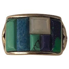 Modern Sterling Silver Multi Stone Mosaic Ladies Statement Ring Turquoise Lapis Lazuli Mother of Pearl Azurite