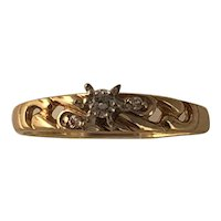 Vintage Mid Century 10K White Gold Filigree High Mount Diamond Engagement Ring