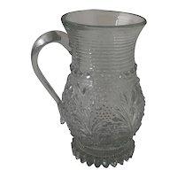 19th Century EAPG Lacy Pressed Flint Glass Tankard Style Mug Handled Cup
