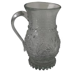 19th Century EAPG Lacy Pressed Flint Glass Tankard Style Mug Handled Cup
