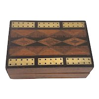 Antique Victorian Folding Travelling Inlaid Marquetry Cribbage Crib Board
